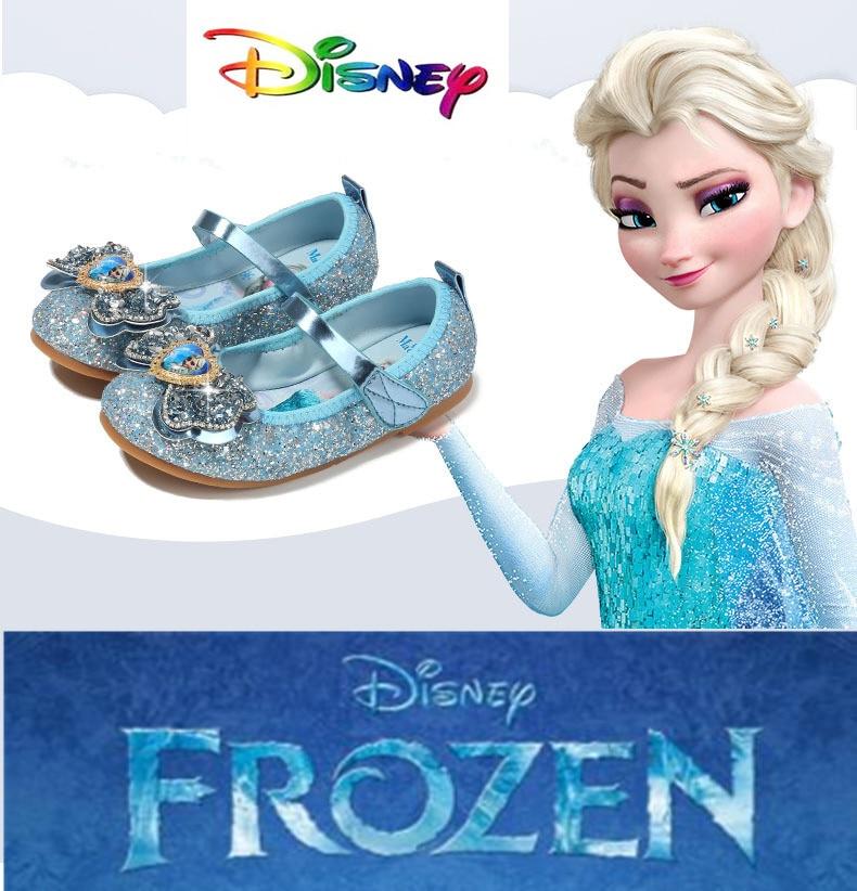 Hot Autumn And Winter Frozen Elsa Girls Princess Shoes Children's Shoes Glitter Leather Butterfly Girls Shoe New 2019