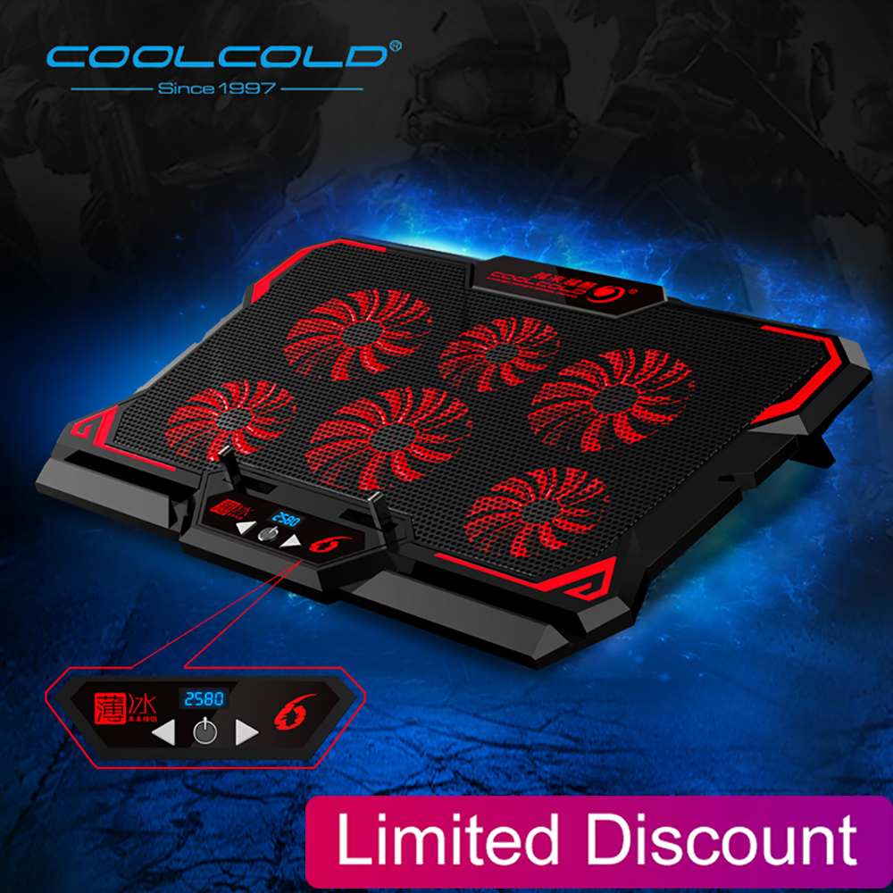 Laptop Cooler 6 Fans Laptop Cooling Pad 2 USB Port With Led Screen 2600RPM For 14-17 Inch Gaming Laptop Cooler Stand