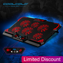 Laptop Cooler 6 Penggemar Laptop Cooling Pad 2 Usb Port dengan Layar LED 2600 Rpm untuk 14-17 Inci laptop Cooler Stand(China)