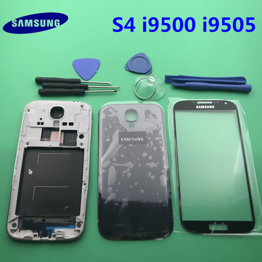 Full Housing Case Middle Frame+Back Cover+Glass Lens++Buttons Replacement Parts For Samsung Galaxy S4 I9505 I9500 I337