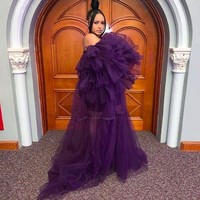 Purple Ruffled Tulle Dress Women Puffy Strapless Party Night GownsTiered Puff Long Sleeves Chic Photo Shoot Dress