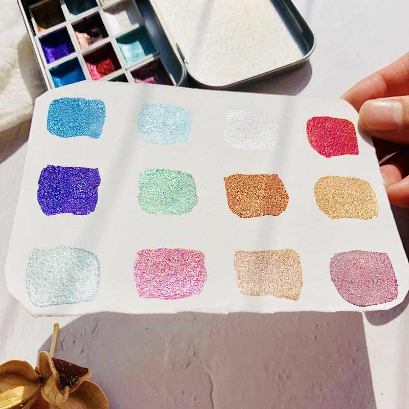 Fait à la main 12 couleurs paillettes eau couleur ensemble Acuarelas métallique or aquarela Pigment peinture artiste peinture aquarelles Art fournitures