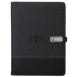 Qi Беспроводная зарядка записная книжка power Bank notebook многофункциональная 8000MAh power Bank Переплетчик дневник на спирали книга + USB флэш-диск