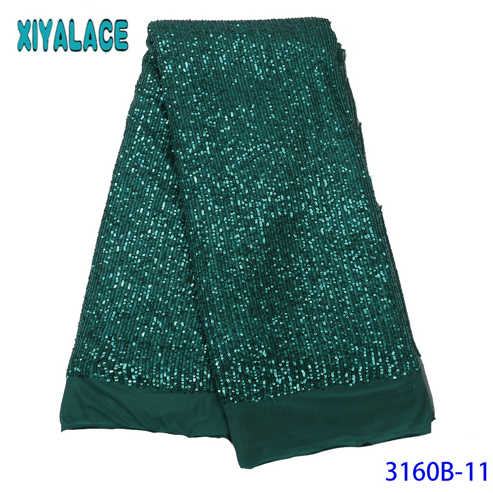 2019 High Quality Lace With Sequins Nigerian Lace Fabrics African Lace Fabric Tulle Mesh Sequence Laces For Party Dress KS3160B