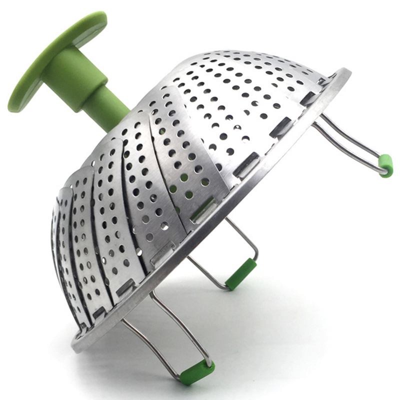 Steamer Basket Stainless Steel Vegetable Steamer Basket Folding Steamer Insert For Veggie Fish Seafood Cooking (the Maximum Diam