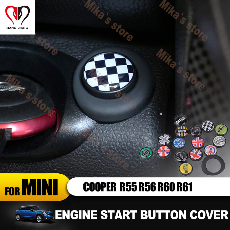 2pcs Car Engine Start Button Cover For Mini Cooper R56 R60 R61 Countryman Car-styling Accessories Power Button Metal Sticker