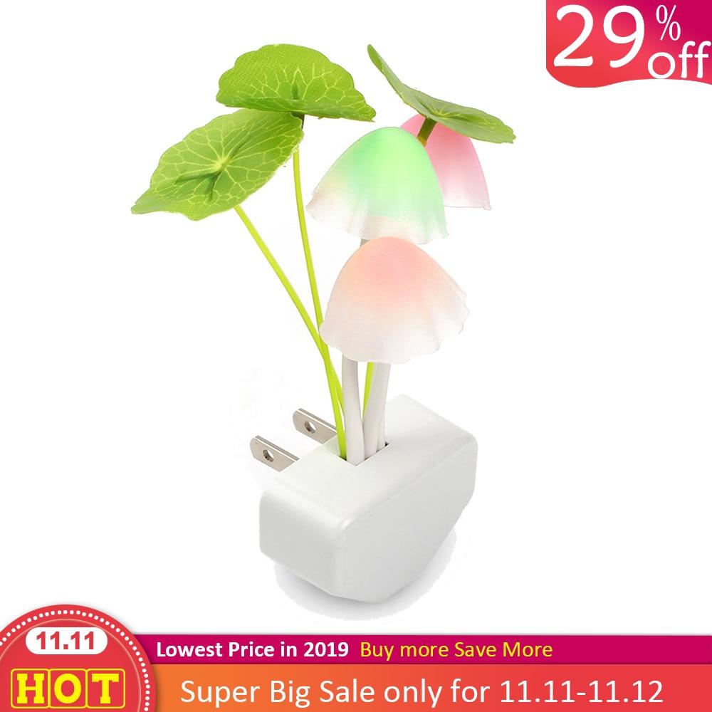 Nouveauté veilleuse ue & US Plug Induction rêve champignon champignon Luminaria lampe 220V 3 LED champignon lampe LED veilleuses