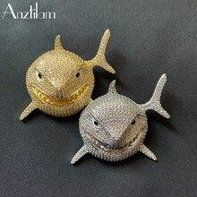 Ouro prata cor bling tubarão pingentes cheio iced para fora aaa + zircônia cúbica animais colar para homens mulheres hip hop jóias presentes
