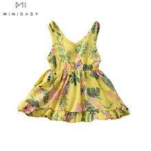 2020 Summer New Style V-neck dress Baby Girls Cute Flower Pattern dress Sleeveless Litter dress Toddler Girl Birthday Dress cute sleeveless scoop neck striped flower embellished dress for girls