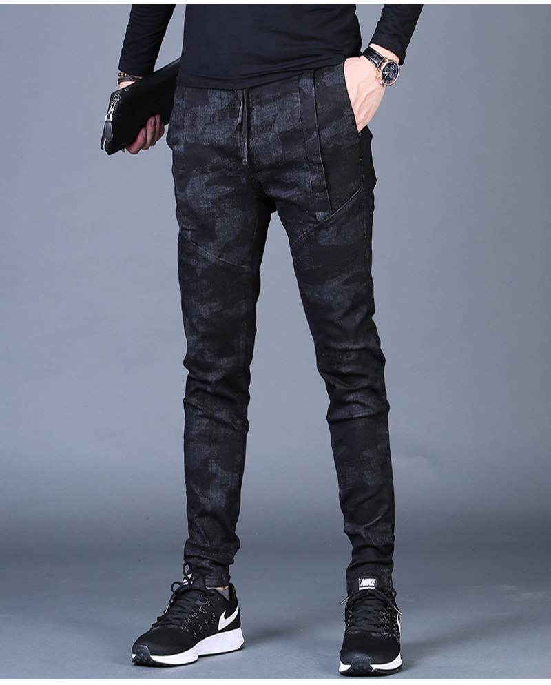 Free shipping new fashion men's male casual Original camouflage jeans men plus velvet autumn stitching pants Slim Korean C3129 82