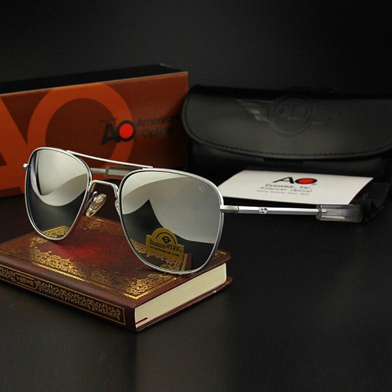 Óculos de sol piloto homem temperado espelho lente de vidro qualidade superior marca designer ao óculos de sol masculino exército americano militar óptico