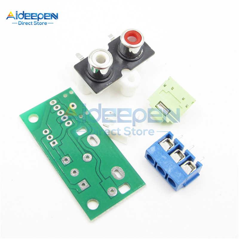 Placa de interruptor de Audio DC 5V Kit de bricolaje RCA a bloque de entrada de Audio de enchufe de 3,5mm para amplificador traje electrónico