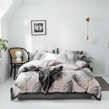 Cotton queen size twin king duvet cover bed sheet fitted sheet set white gray Bedding Set bed sheet ropa de cama parure de lit