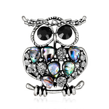 Personality explosions Europe brooch upscale owl fashion natural abalone shell animal corsage spot