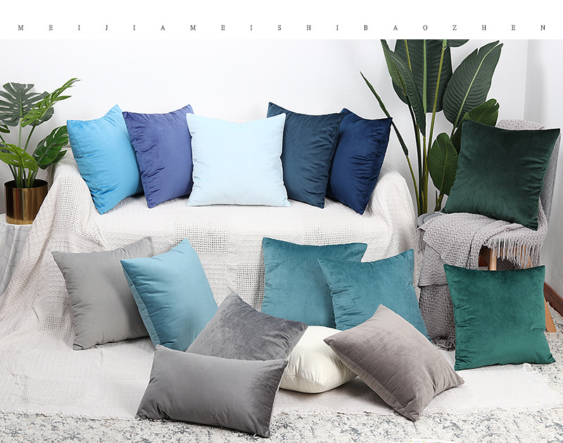 >Nordic Luxury <font><b>Blue</b></font> Velvet Cushion Green Yellow Pink Gray <font><b>White</b></font> Black Home Decorative Sofa Solid Color Throw Pillows