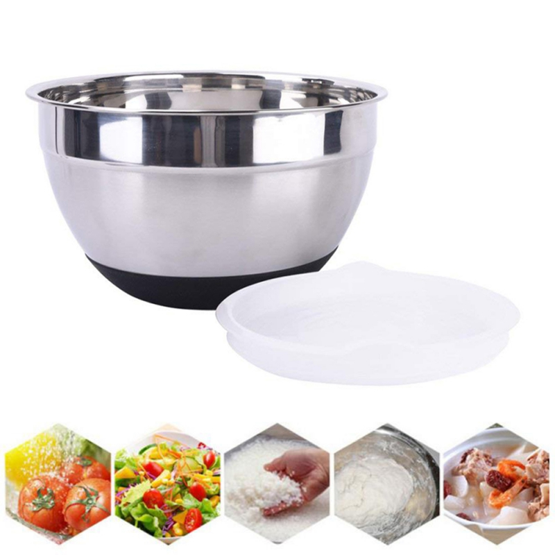 Stainless Steel Mixing Bowls Non Slip Nesting Silicone Bottom Whisking Bowls Mixing Bowls For Salad Cooking Baking Tools