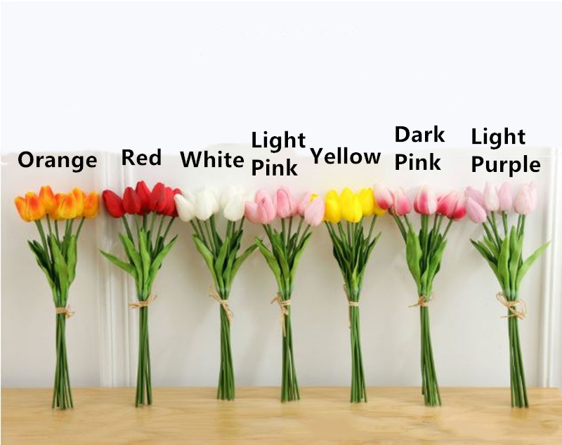1PC PU Mini Tulips Artificial Flowers For Home And Wedding Decoration Flowers 46