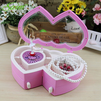 Saim Music Jewelry Box Ballerina Musical Jewelry Box Storage Heart Shape Dancing Girl Music Box
