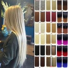 Длинные прямые волосы MANWEI на клипсах, натуральные шелковистые прямые волосы, удлинение 24 дюйма, женские длинные искусственные синтетические волосы на клипсах
