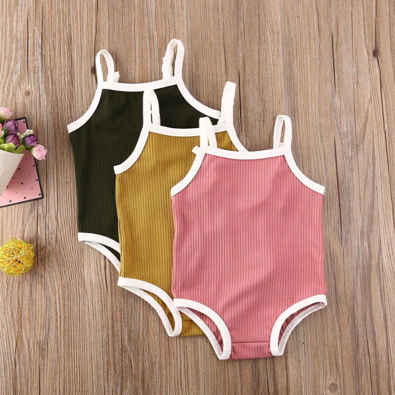 Newborn Baby Girls Summer Swimwear 2020 Swimsuit One-piece Solid Beachwear Suit New Infant Baby Boy Girl Pure Color Bathing Suit
