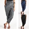Harem Pants Plus Size S-5XL брюки das Mulheres Casual Solta Cintura Alta Rendas Até Cinta Sólida Um Lado Bolso da Calça Calças de Conforto