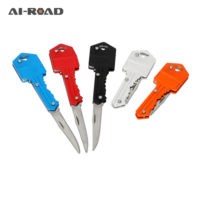 AI-ROAD Mini Keychain Knife Paper Cutter Key Fold Knife Pocket Camping Outdoor Survive Tools Peeler Letter Box Opener