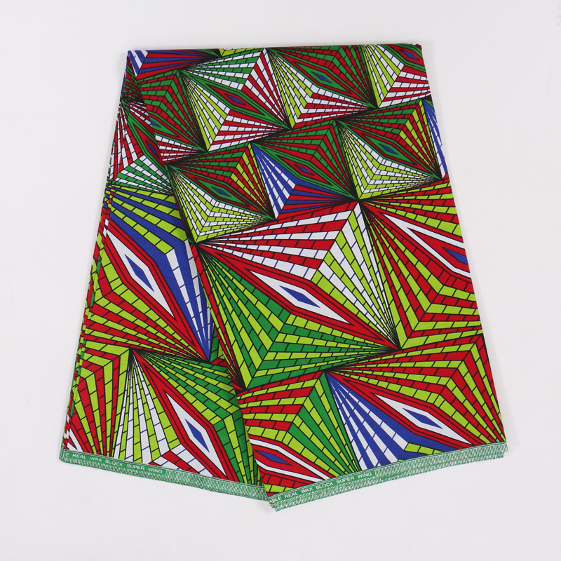Latest African Fabric Colorful Print 100% Cotton Wax Java 6Yards