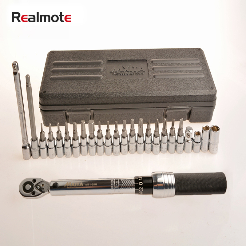 "Realmote 25/20/18 pcs/set 1 / 4 ""1-25NM Professional Precision Adjustable Torque Wrench Bike Repair Spanner Hand Tool Set"