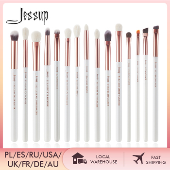 Jessup Professional Makeup Brushes Set 15pcs Pearl White/Rose Gold Eye Shadow Make up Brush Eye Liner Natural-synthetic hair
