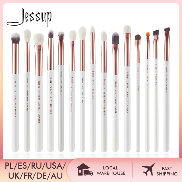 Jessup Professional Makeup Brushes Set 15pcs Pearl White/Rose Gold Eye Shadow Make up Brush Eye Liner Natural-synthetic hair