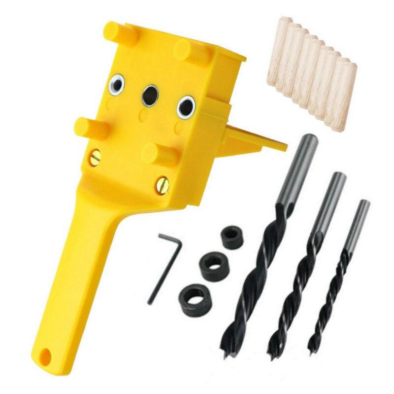 クイック木材 Doweling ジグ ABS プラスチックハンドヘルドポケット穴ジグシステム 6/8/10 ミリメートルドリルビット穴パンチャー大工ダボ関節 -