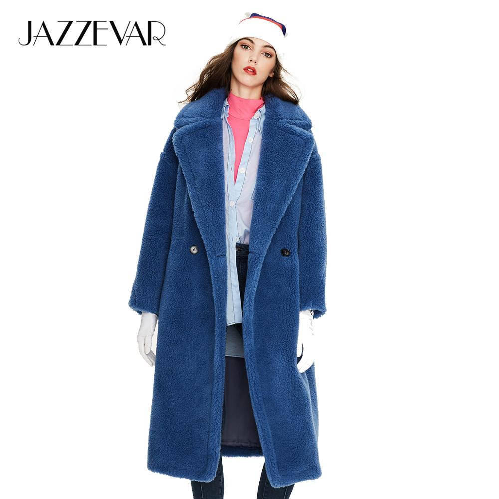JAZZEVAR 2019 Winter New Arrival Fur Coat Women New Fashion Style Teddy Bear Coat Loose Clothing Long Warm Winter Coat K9063