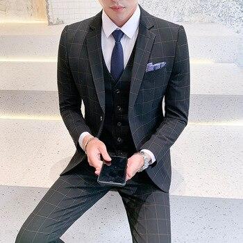 New Suit Suit, Men's Three-Piece Suit, Business Casual Professional Suit, 3 piece suits men (Top + Vest + pants)