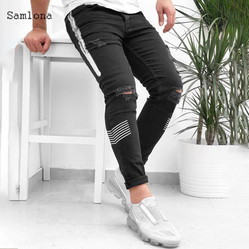 Slim Destroyed Hole Fit Jeans Men Fashion Street Style Denim Pants Men's Stretchy Ripped Biker Embroidery Print Scratched Jeans