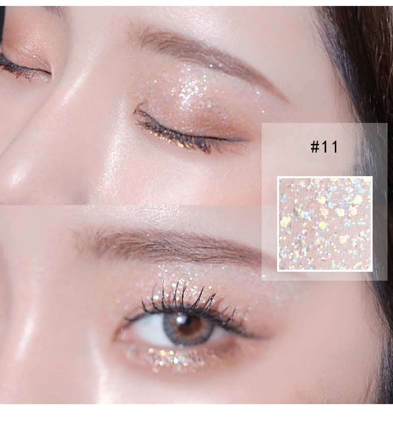 14 Color Shine Pearlescent Glitter Silver Eye Shadow Highlighter Makeup Lasting Monochrome Brighten Liquid Eyeshadow Cream TSLM1 3