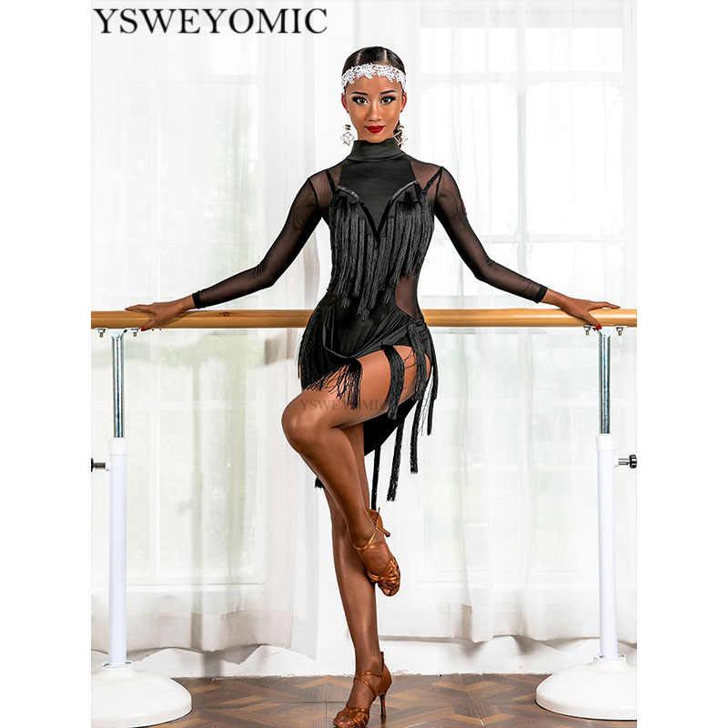 2019 rot Schwarz Mädchen und Frauen Latin Dance Kleid Fransen Rumba Bachata Latin Kleid Für Konkurrenzfähiger Dance UA237