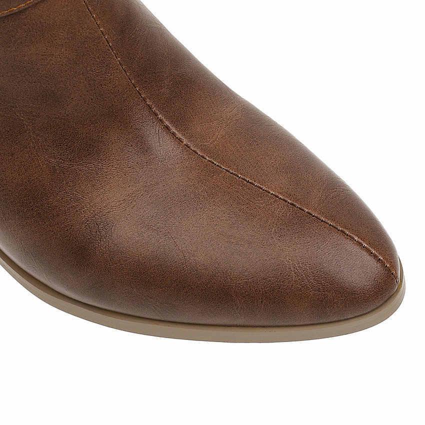 QUTAA 2020 sivri burun toka fermuar moda yarım çizmeler PU deri sonbahar kış kare yüksek topuk kadın ayakkabı büyük boy 34 -43