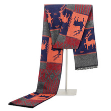 Men Scarf Silk Cashmere Luxury Brand Shawls-Wraps Christmas-Gift Warm Winter Business