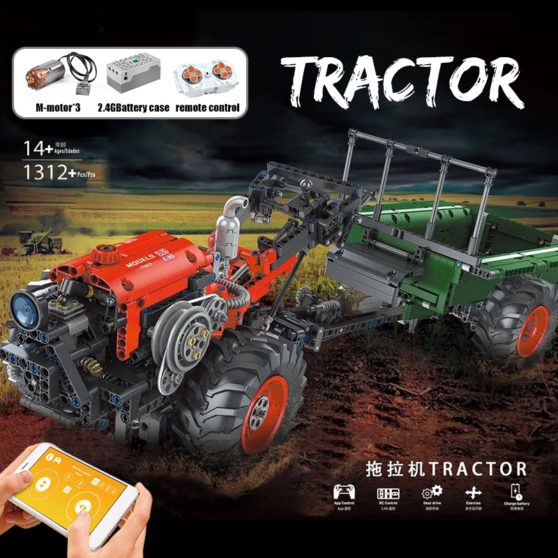 MOULD KING 17005 High-Tech Car Toys The APP RC Motorized Tractor Building Blocks