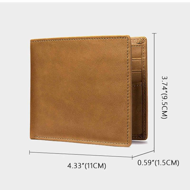 ใหม่หนังกระเป๋าสตางค์ชายหนังแท้กระเป๋าสตางค์ Man ขนาดเล็กกระเป๋าสตางค์ VINTAGE กระเป๋าสตางค์สำหรับชาย