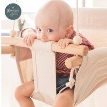 Качели для малышей из холщового материала подвесные деревянные