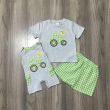 Girlymax verão bebê meninos cinza trator fazenda xadrez gingham roupas macacão boutique shorts definir bolsos crianças roupas