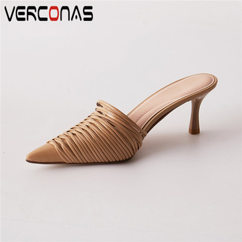VERCONAS  2020 Fashion  Woman  Sandals Woman Pumps Brand Design Genuine Leather Shallow Pointed Toe Thin High Heeled Shoes Woman