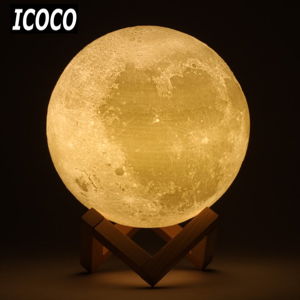 3D Print Simulation Moon LED Nightlight Touch Control USB Charging Desk Lamp 8/10/12/13/15/18/20cm +/-Wood Stand Drop Shipping