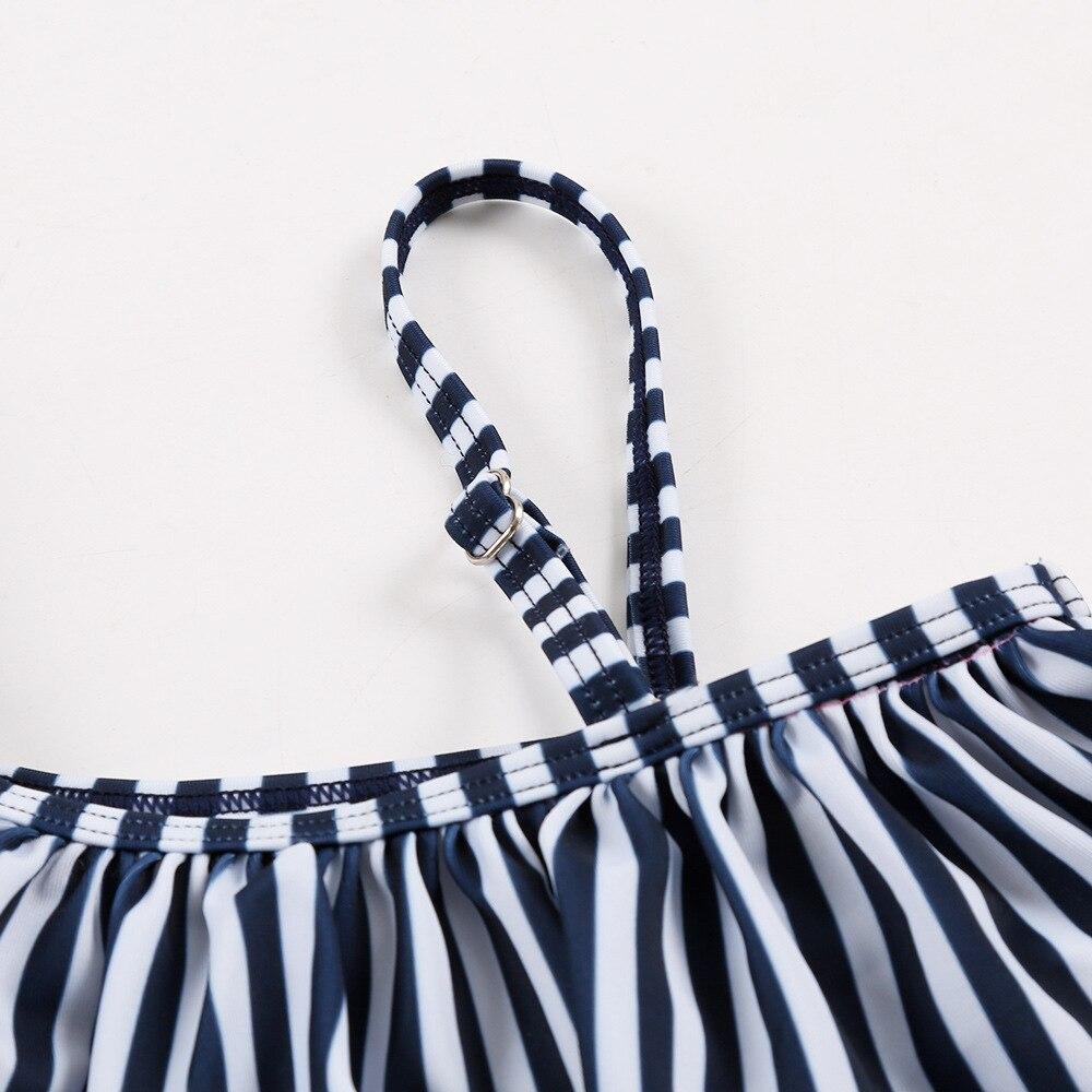 New Style CHILDREN'S Bikini One-piece Lotus Leaf Shoulder Briefs Navy Blue With White Flowers Medium-small Girls Infant Baby Bat