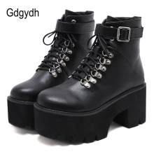 Gdgydh New Arrival Womens Autumn Shoes Chunky Block High Hee