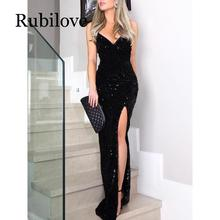 Rubilove Sleeveless long sequin dress Women high slit spaghetti strap dresses Sexy V neck club party dress Maxi black sequined v high slit long sleeveless cami dress
