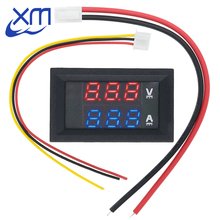 "DC 0 100V 10A Digital Voltmeter Ammeter Dual Display Voltage Detector Current Meter Panel Amp Volt Gauge 0.28"" Red Blue LED"