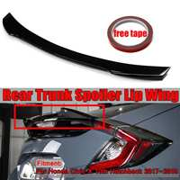 Real Carbon Fiber / Resign Car Rear Trunk Spoiler Wing Lip For Honda For Civic X 10th Hatchback 2017 2019 DTO V Style Racing