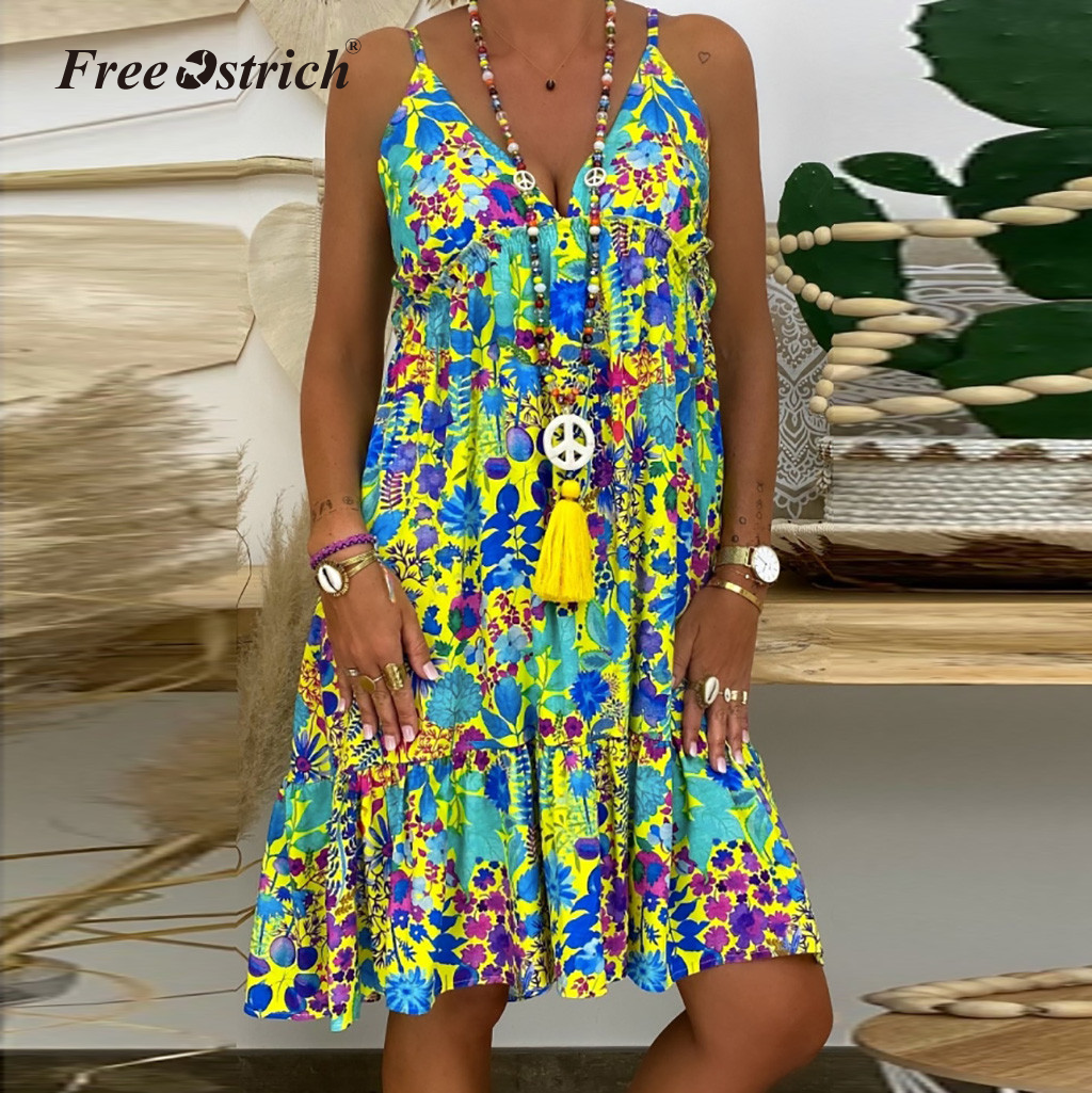Womens Boho Summer Casual Sleeveless Loose Floral Party Beach Tunic Dress UK